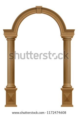 Wooden classic vintage arch of the portal door with the columns. Vector graphics. The entrance of the facade or the framing of the furniture.