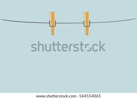 Shutterstock Wooden Cloth pegs hanging on a rope. Empty space for your advertising. Greeting card. Vector illustration on a blue background