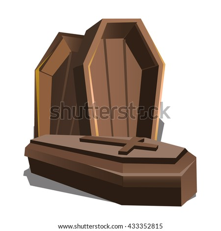 wooden coffins with a cross on