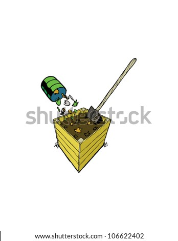 Wooden Compost Bin with Household Waste and Shovel