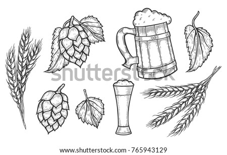 wooden craft mug of beer  a