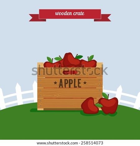 wooden crate flat style design