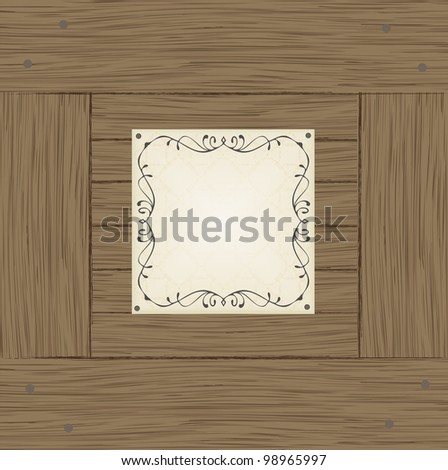 Wooden crate or box one side with note vector background