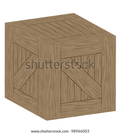 Wooden crate or box vector background