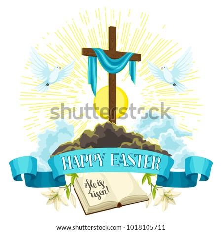wooden cross with shroud  bible