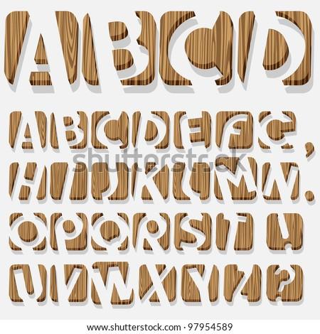 Wooden 3D alphabet.Vector eps10