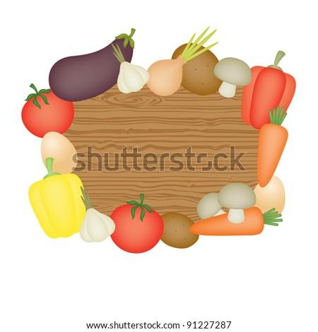 Wooden desk and vegetables