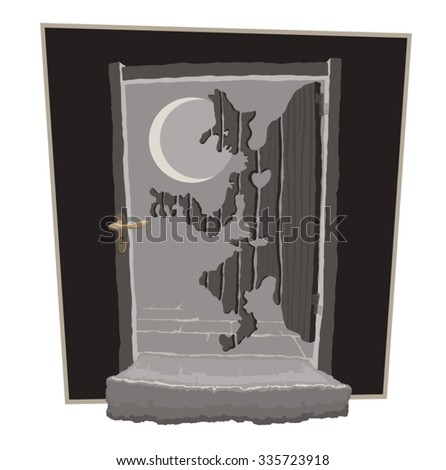 wooden door in the moonlight