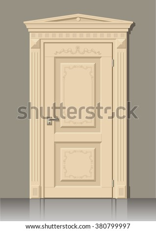 wooden door in vector graphics