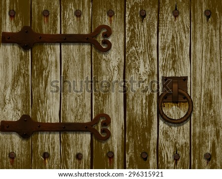 wooden door with forged hinges