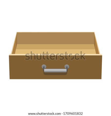 Wooden drawer vector icon.Cartoon vector icon isolated on white background wooden drawer. Foto stock ©