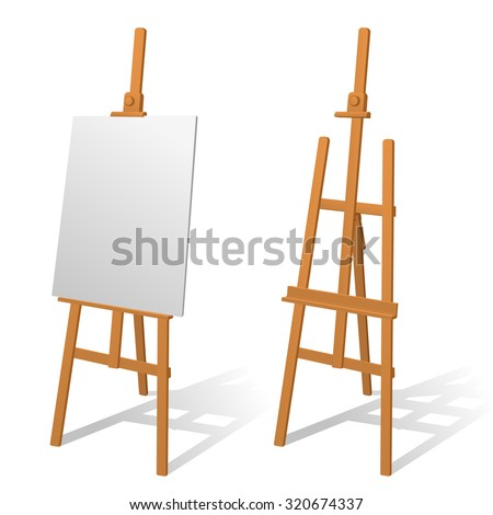 wooden easel on a white