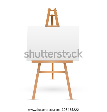 wooden easel with blank canvas