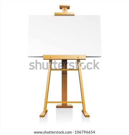 wooden easel with blank canvas isolated on white background vector