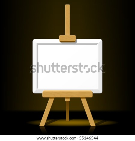 Wooden easel with blank canvas on a dark background. Vector. - stock vector