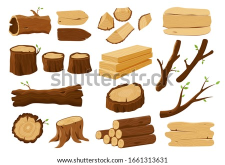 Wooden elements, lumber wood logs and tree trunks ストックフォト ©