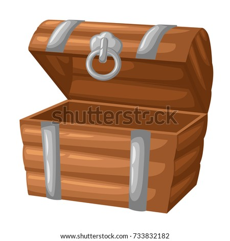 wooden empty chest with open...