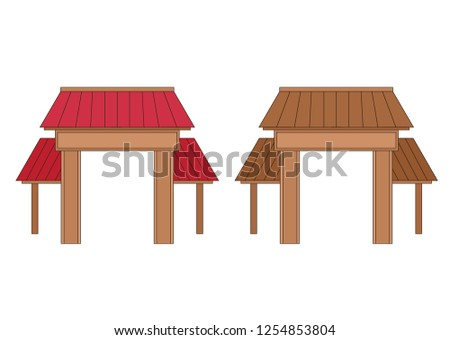 Wooden entrance door design on white background illustration vector - Shutterstock ID 1254853804