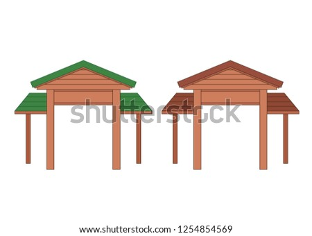 Wooden entrance door design on white background illustration vector - Shutterstock ID 1254854569
