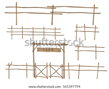 wooden fence elements vector