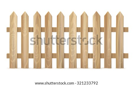 wooden fence on white