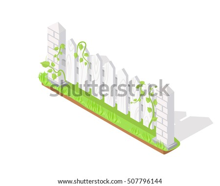 Wooden fence section icon. Board barrier with lawn and shadow isometric projection vector illustration isolated on white background. For gaming environment, architecture element, app, web design