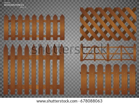 Wooden fence. Set, Isolated on transparent background. EPS10