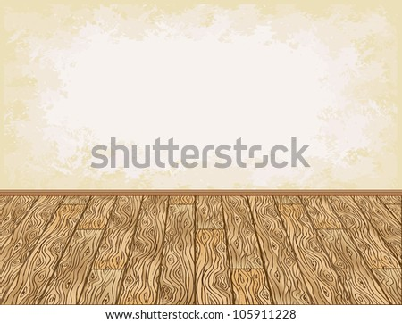 Wooden floor and grungy wall background vector illustration