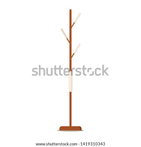 Wooden floor coat rack - hanger for cothes or towels in the hallway, bathroom, office flat design icon concept. Vector symbol, sign illustration isolated on white background. Design interior element. Foto d'archivio ©