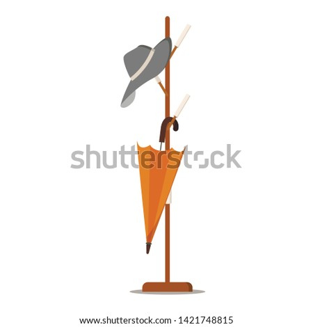 Wooden floor coat rack - hanger for cothes with hat and umbrella. Cartoon style flat design icon concept. Vector symbol, sign illustration isolated on white background. Design hallway interior element Foto d'archivio ©