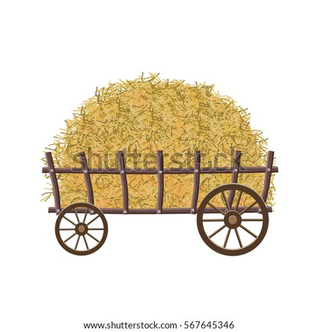 wooden four wheel cart with hay