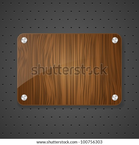 Wooden frame on metal background. Vector illustration.