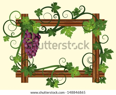Wooden frame with grapes, vector illustration