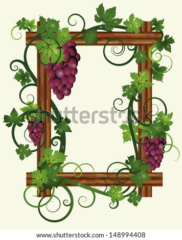Wooden frame with leafs and grapes, vector illustration
