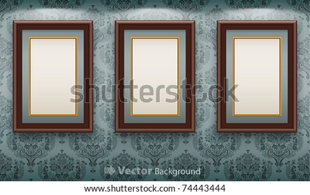 Wooden frames on the wall. Vintage background - stock vector