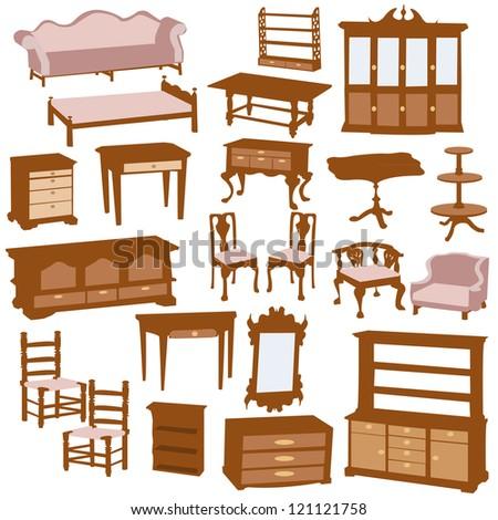 Wooden furniture, vector illustration.