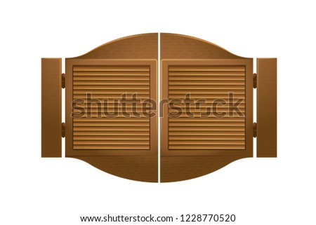 Wooden gate to saloon bar, in wild west. Gate of interior cowboy bar on wild west. Exterior, appearance, wooden doors to the tavern, outdoor architecture elements interior doors. Vector illustration.