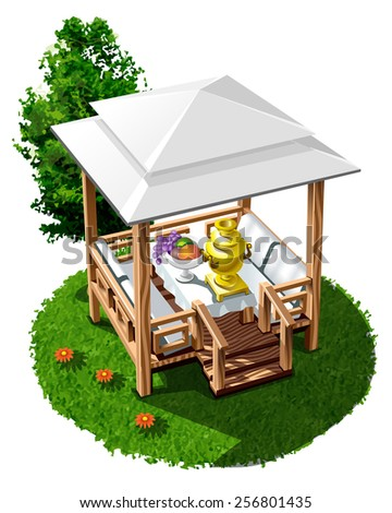 wooden gazebo for picnics and outdoor recreation