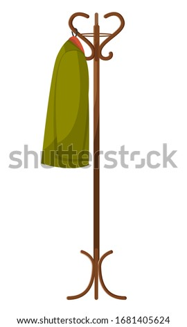 Wooden hanger in lobby or hallway. Item of furniture to hung coat. Interior of room in house or cloakroom in cafe. Apparel clothing object isolated on white, vector illustration in flat style Foto d'archivio ©