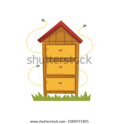 Wooden hive, apiary and beekeeping vector Illustration on a white background