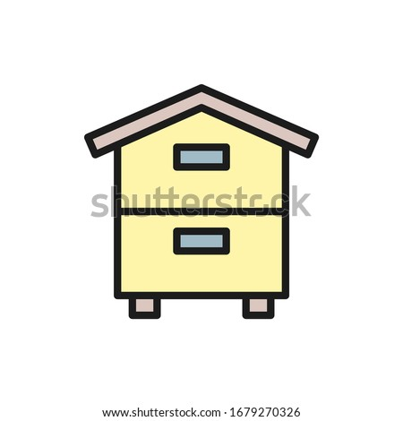 Wooden hive, beehive, apiary, beekeeping flat color line icon. Сток-фото ©