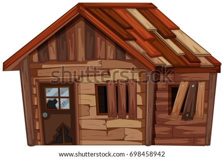 Wooden house in bad condition illustration