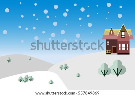 wooden hut in the snow  nature