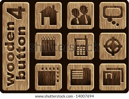 wooden icons  internet and