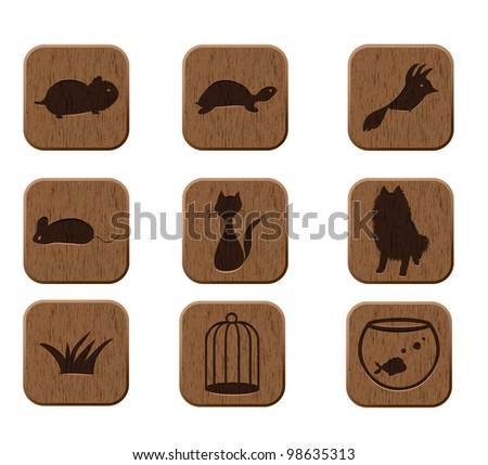 wooden icons set with pets silhouettes. vector eps8