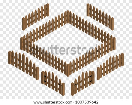 wooden isometric fences and