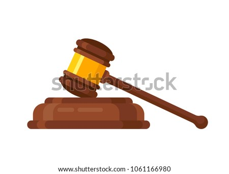 Wooden judge ceremonial hammer of the chairman with a curly handle, for adjudication of sentences and bills, court, justice, with a wooden stand. Vector illustration isolated.