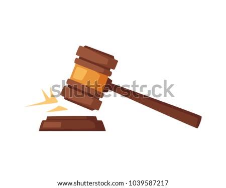 Wooden judge gavel. Cartoon vector illustration
