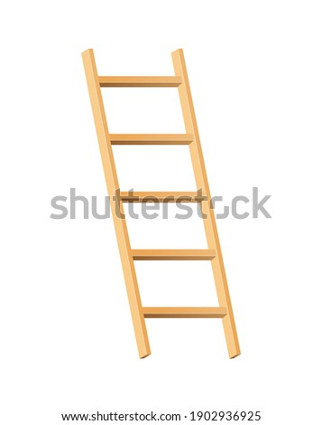 Wooden ladder household tool. Step ladder for domestic and construction needs. Isolated vector illustration Photo stock ©