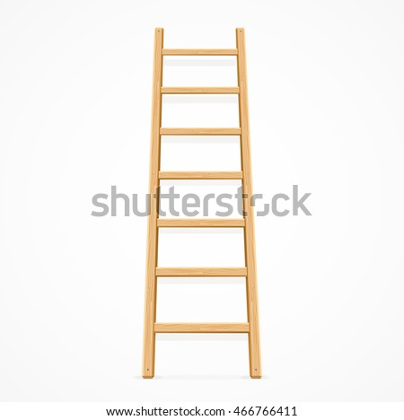 wooden ladder isolated on white ...